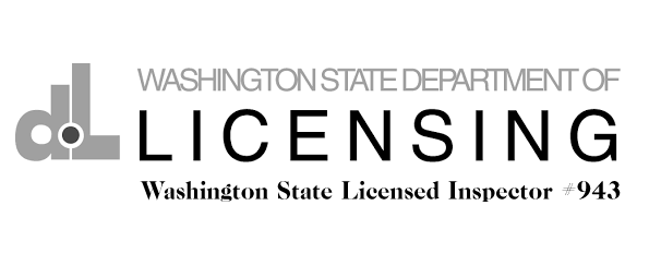 WSD licensing logo that says Washington State Licensed Inspector.