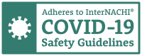 """Adheres to InterNACHI COVID-19 Safety Guidelines"" logo"