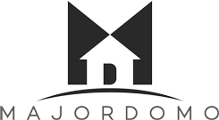 A logo of major domo which looks like a house with a door that is in the shape of a D, and a capital M shape in the background.